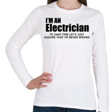 PRINTFASHION ELECTRICIAN - Női hosszú ujjú póló - Fehér