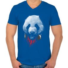 PRINTFASHION Elegáns panda  - Férfi V-nyakú póló - Királykék