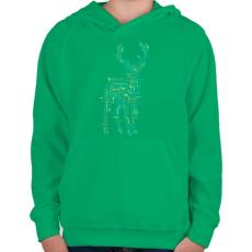 PRINTFASHION Elektroszarvas - Gyerek kapucnis pulóver - Zöld