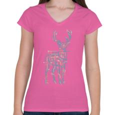 PRINTFASHION Elektroszarvas - Női V-nyakú póló - Rózsaszín