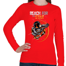 PRINTFASHION Elérni a csillagokat - Női hosszú ujjú póló - Piros