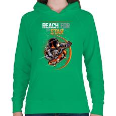 PRINTFASHION Elérni a csillagokat - Női kapucnis pulóver - Zöld