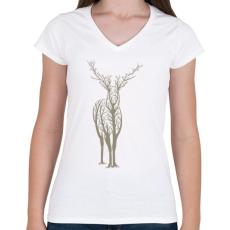 PRINTFASHION Élővilág - Női V-nyakú póló - Fehér