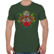 PRINTFASHION Első szerelem  - Férfi póló - Katonazöld