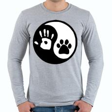 PRINTFASHION Ember/állat barátság - Férfi hosszú ujjú póló - Sport szürke