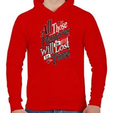 PRINTFASHION Emlékezz - Férfi kapucnis pulóver - Piros