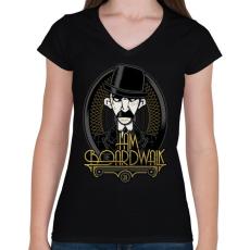 PRINTFASHION Én vagyok az ász - Női V-nyakú póló - Fekete