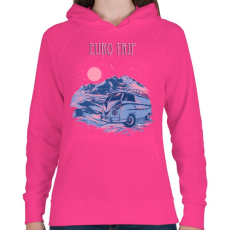 PRINTFASHION Európai utazás - Női kapucnis pulóver - Fukszia