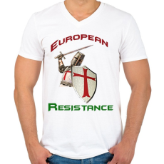 PRINTFASHION European Resistance - Férfi V-nyakú póló - Fehér
