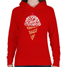PRINTFASHION Fagyi - Női kapucnis pulóver - Piros