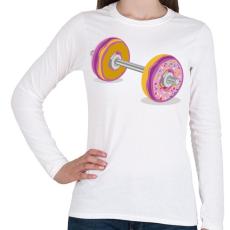 PRINTFASHION Fánk súlyzó - Női hosszú ujjú póló - Fehér