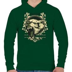 PRINTFASHION Farkas - Férfi kapucnis pulóver - Sötétzöld