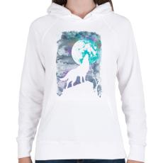 PRINTFASHION Farkas holdfényben - Női kapucnis pulóver - Fehér