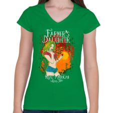 PRINTFASHION Farmerek lánya - Női V-nyakú póló - Zöld női póló