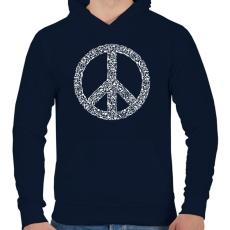 PRINTFASHION Fegyver béke - Férfi kapucnis pulóver - Sötétkék