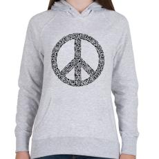 PRINTFASHION Fegyver béke - Női kapucnis pulóver - Sport szürke