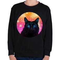 PRINTFASHION Fekete macska - Gyerek pulóver - Fekete