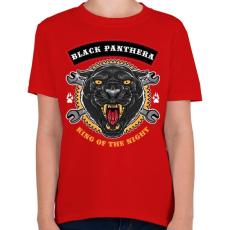 PRINTFASHION Fekete párduc - Gyerek póló - Piros