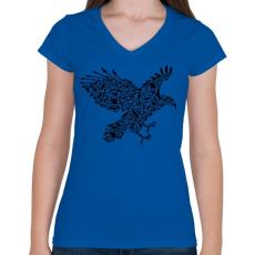PRINTFASHION Fekete sas - Női V-nyakú póló - Királykék