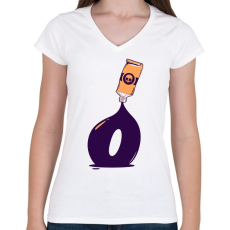 PRINTFASHION festék - Női V-nyakú póló - Fehér
