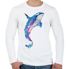 PRINTFASHION Festett bálna - Férfi hosszú ujjú póló - Fehér férfi póló