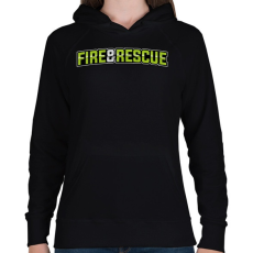 PRINTFASHION Fire and Rescue - Női kapucnis pulóver - Fekete