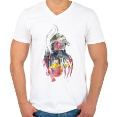 PRINTFASHION Fire&Smoke - Férfi V-nyakú póló - Fehér