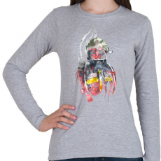PRINTFASHION Fire&Smoke - Női hosszú ujjú póló - Sport szürke