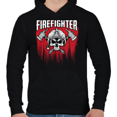 PRINTFASHION Firefighter - Férfi kapucnis pulóver - Fekete