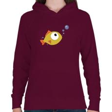 PRINTFASHION Fish - Női kapucnis pulóver - Bordó