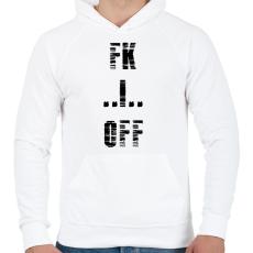 PRINTFASHION FK OFF - Férfi kapucnis pulóver - Fehér