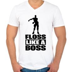 PRINTFASHION Floss Like A Boss - Férfi V-nyakú póló - Fehér