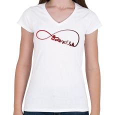 PRINTFASHION Forever3 - Női V-nyakú póló - Fehér