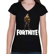 PRINTFASHION Fortnite #7 - Női V-nyakú póló - Fekete