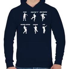 PRINTFASHION Fortnite Dance - Férfi kapucnis pulóver - Sötétkék