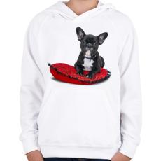 PRINTFASHION Francia buldogos póló - Gyerek kapucnis pulóver - Fehér