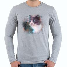PRINTFASHION Fröcskölt macska - Férfi hosszú ujjú póló - Sport szürke