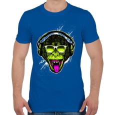 PRINTFASHION Funky majom - Férfi póló - Királykék