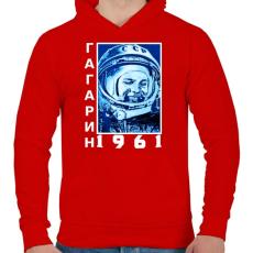 PRINTFASHION Gagarin 1961 Cirill - Férfi kapucnis pulóver - Piros