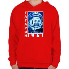 PRINTFASHION Gagarin 1961 Cirill - Gyerek kapucnis pulóver - Piros