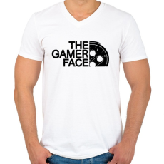 PRINTFASHION Gamer Face - Férfi V-nyakú póló - Fehér