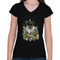 PRINTFASHION Gangsta Zombie - Női V-nyakú póló - Fekete