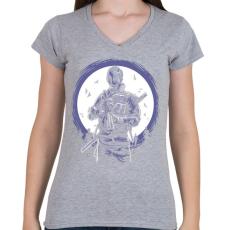 PRINTFASHION Gázmaszkos katona - Női V-nyakú póló - Sport szürke