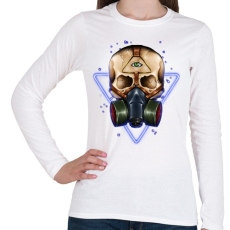 PRINTFASHION Gázmaszkos koponya - Női hosszú ujjú póló - Fehér