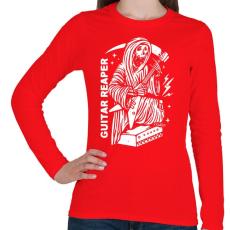 PRINTFASHION Gitáros halál - Női hosszú ujjú póló - Piros