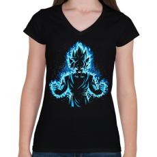 PRINTFASHION God Vegeta - Női V-nyakú póló - Fekete