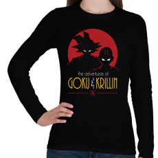 PRINTFASHION Goku és Krillin - Női hosszú ujjú póló - Fekete