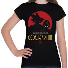 PRINTFASHION Goku és Krillin - Női póló - Fekete