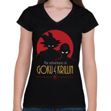 PRINTFASHION Goku és Krillin - Női V-nyakú póló - Fekete