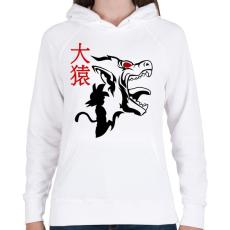 PRINTFASHION GOKU - Női kapucnis pulóver - Fehér